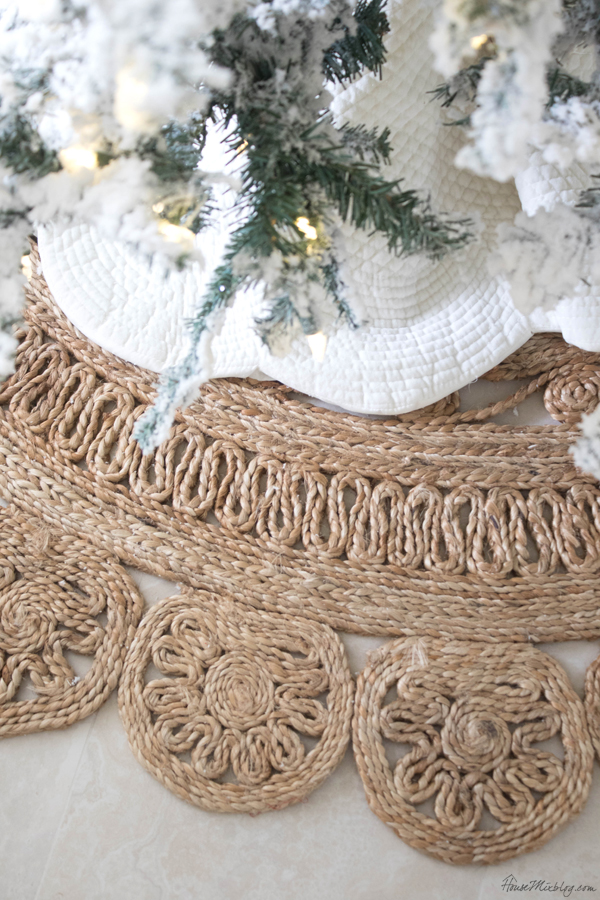 Christmas tree skirt and jute rug