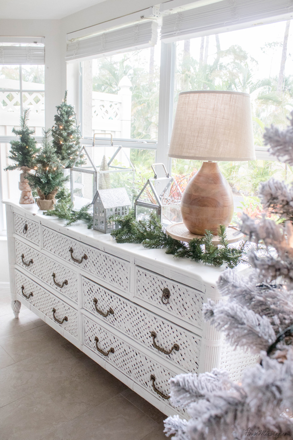 neutral christmas decor - buffet dining room table decorating and styling