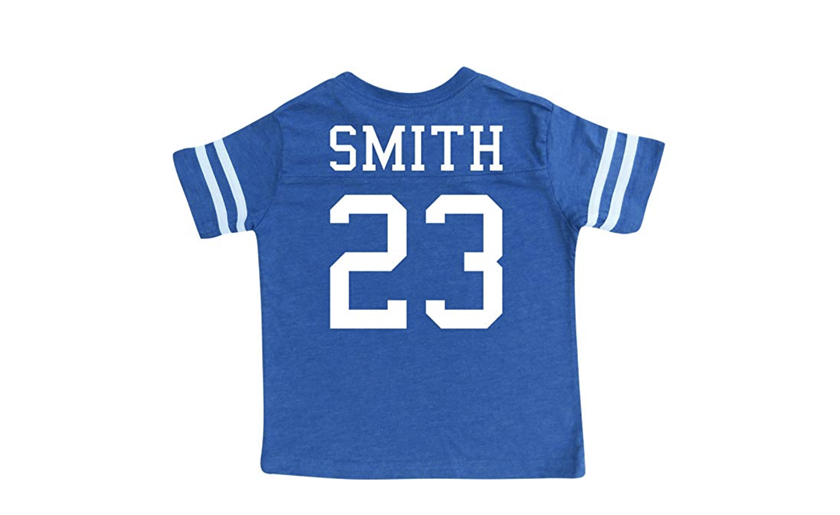 Personalized kids jersey - 7 year old gift and toy ideas