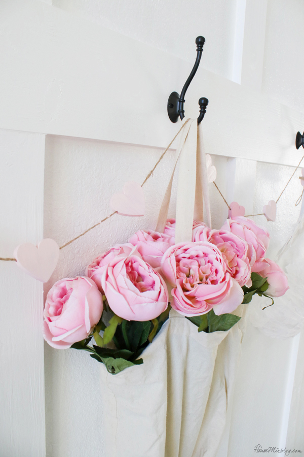 Valentine's day decorations for mudroom and entryway