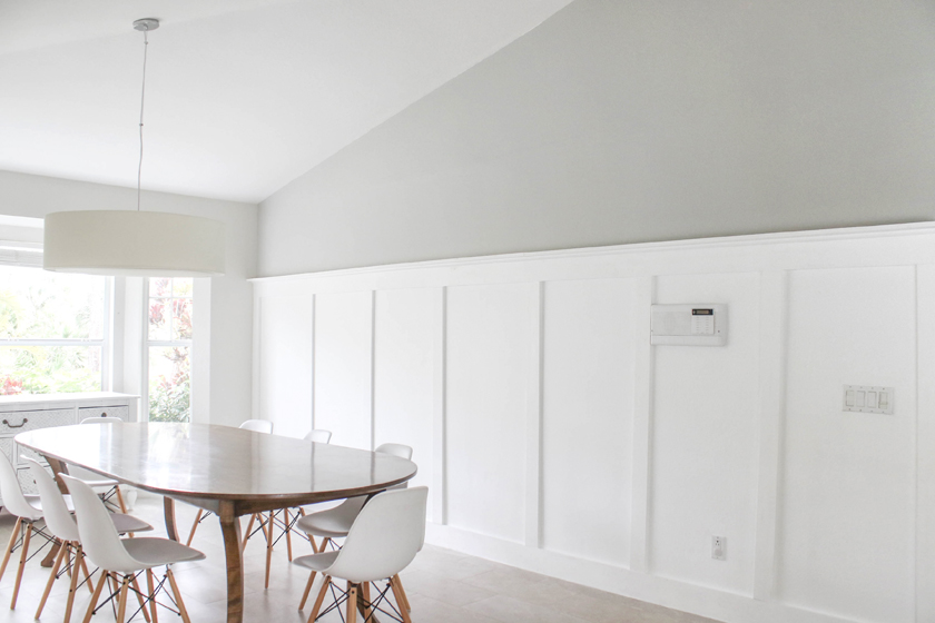 Board and batten wall with no power tools - perfect gray color - sherwin williams light french gray