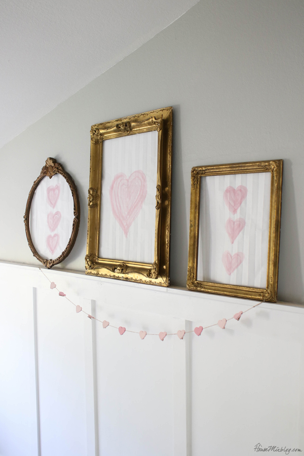 DIY valentine's day art - watercolored hearts in fancy gold frames
