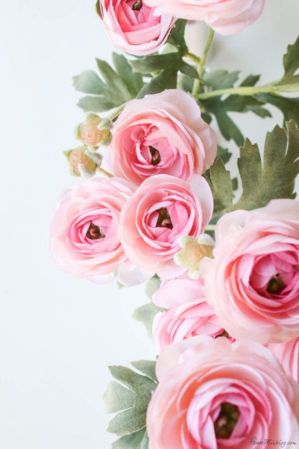 Faux pink tea roses from Hobby Lobby for Valentine's tablescape