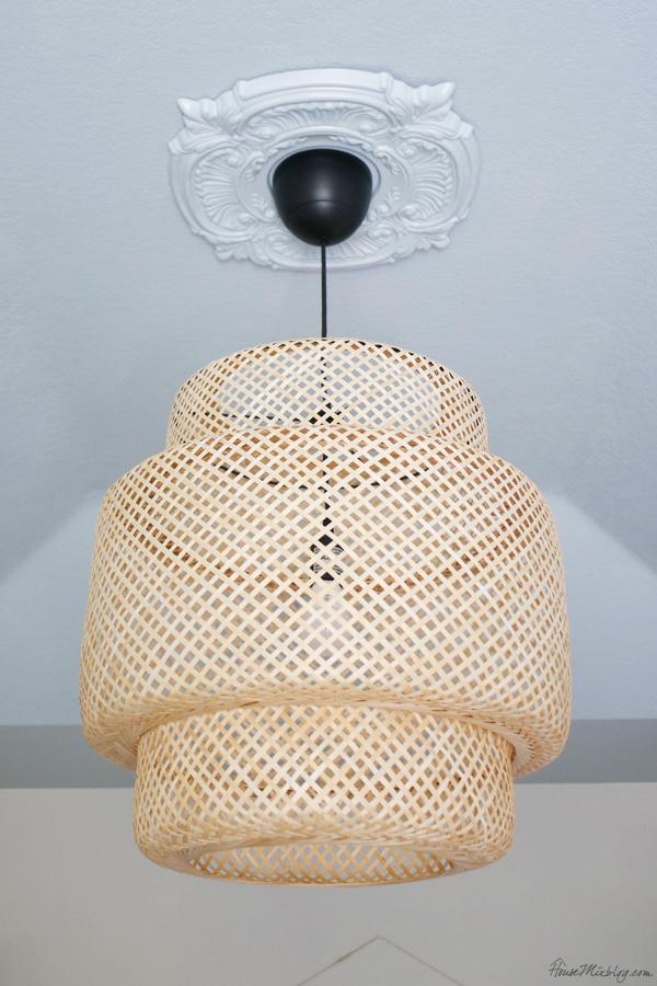 IKEA SINNERLIG bamboo pendant - Perfect ceiling paint color Benjamin Moore Harbor Haze