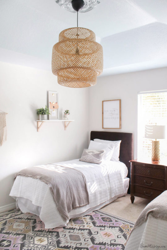 Neutral guest bedroom with bamboo pendant light and blue ceiling - harbor haze