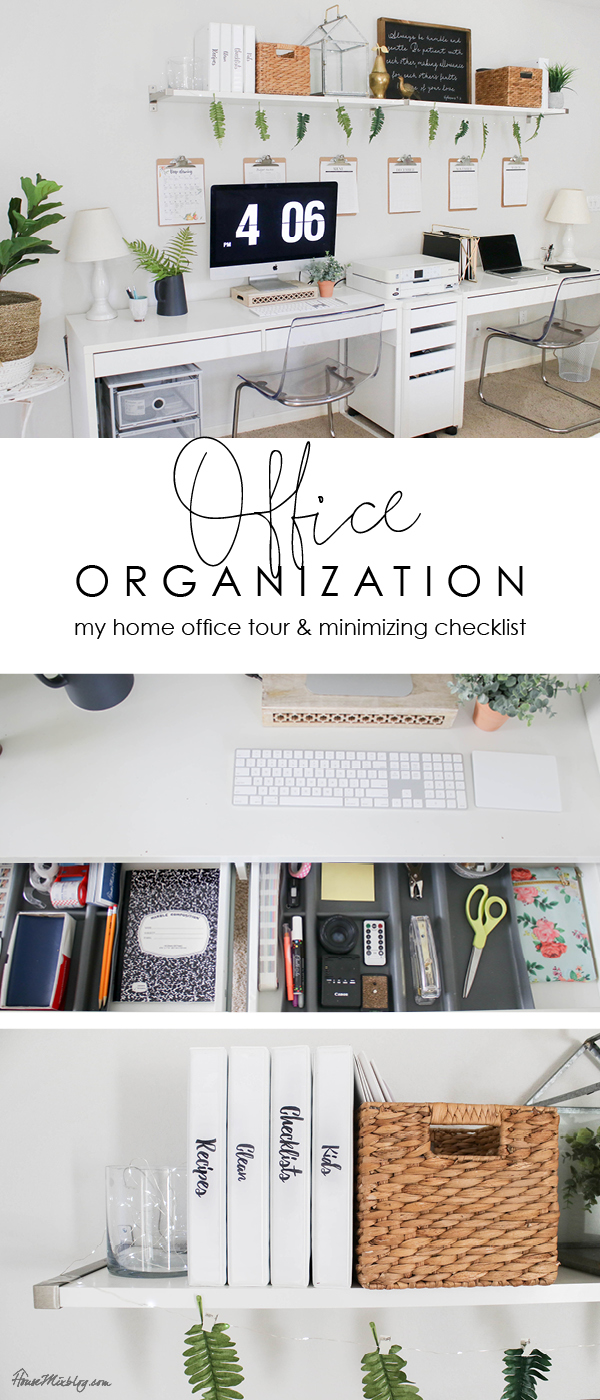 Office organization ideas - my home office tour and minimizing checklist - paper filing, purging, desk organizing, family binder, command center, menu, checklists, calendar, clipboards