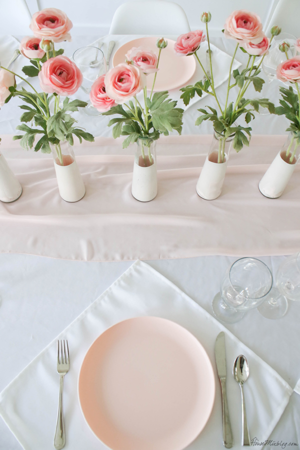 cheap centerpiece - dollar store vases - pink and white tablescape for valentine's day, baby shower or wedding - dining room