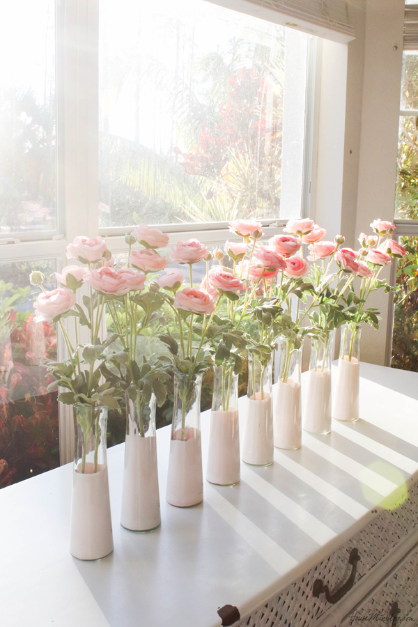 Diy Pink Dip Dyed Dollar Store Vases House Mix