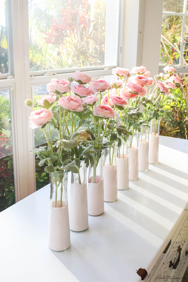 cheap centerpieces - dye dipped dollar store vases and faux pink roses - valentines day, baby shower, wedding decorations
