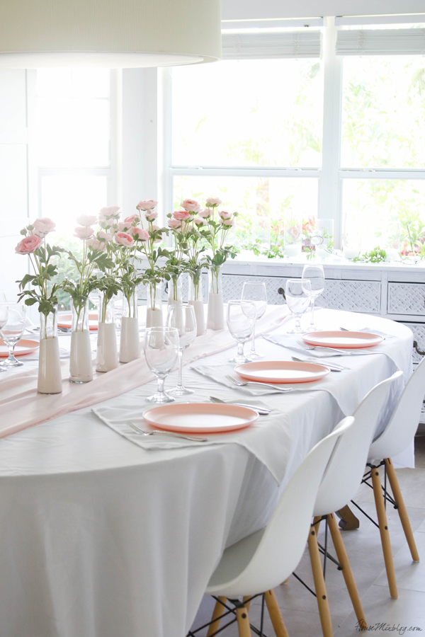 cheap pink table setting