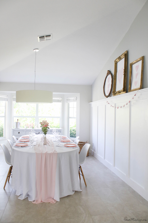dining room decorated for valentine's day