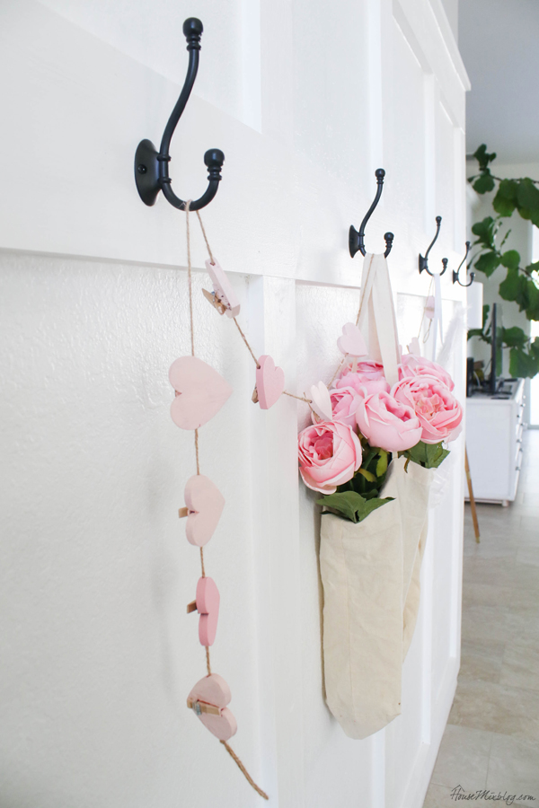 entryway decorated for valentine's day on the cheap
