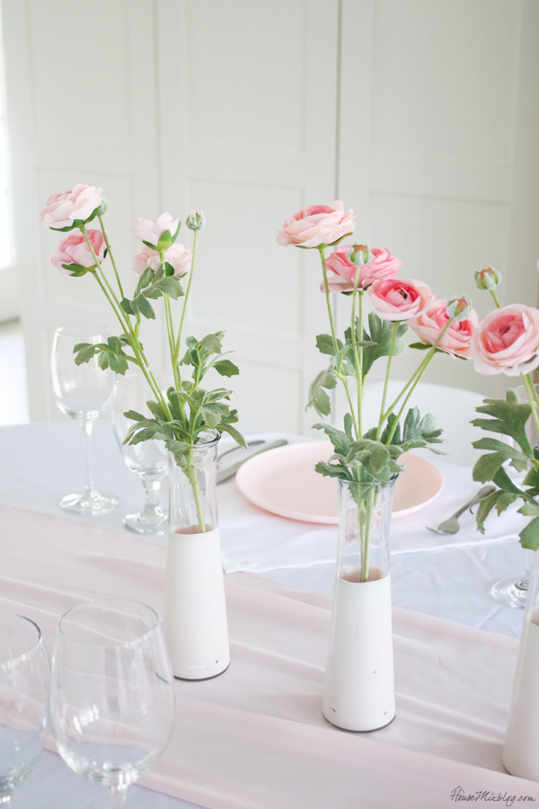 inexpensive pink dining room table centerpiece