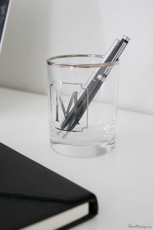 initial pencil holder - shared home office