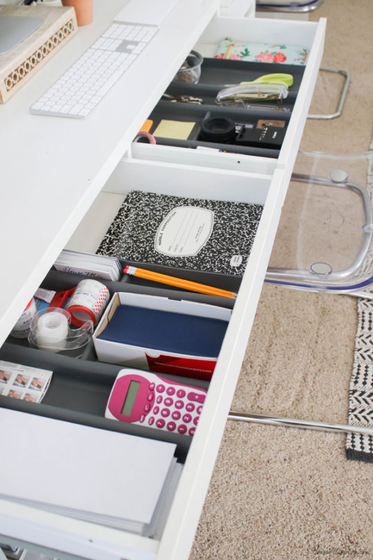 office desk organization - desk drawer organization - ikea drawer organizers