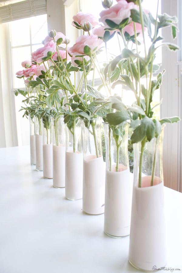 pale pink dipped dollar store vases - Valentine's day tablescape centerpiece