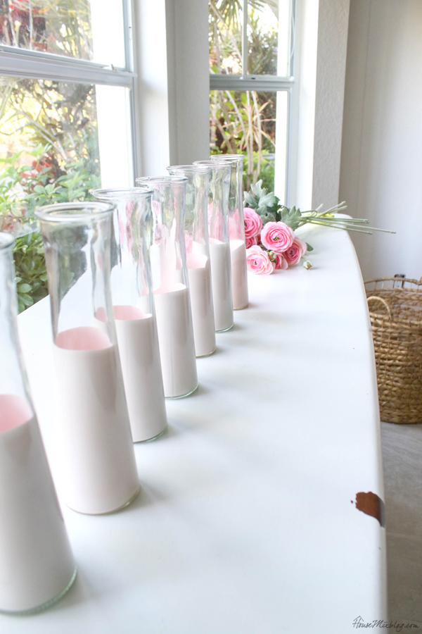 pale pink dipped vases - cheap valentine's day decor