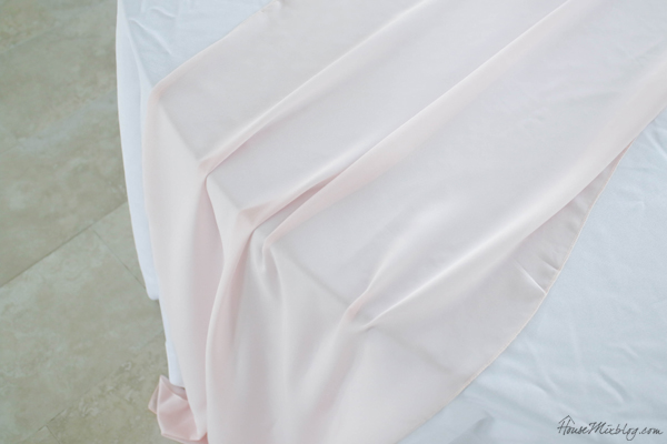 pale pink taffeta table runner
