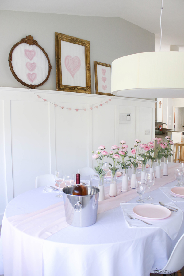 pink and white tablescape for valentine's day, baby shower or wedding - dining room - painted hearts for cheap artwork