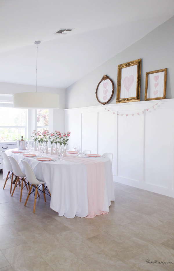 pink and white tablescape for valentine's day, baby shower or wedding - dining room - pink table runner