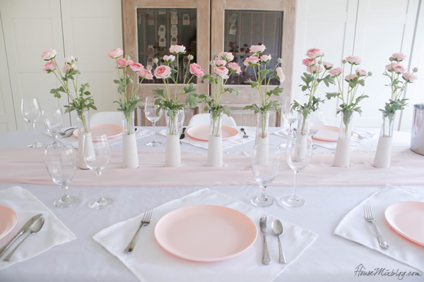 pink and white tablescape for valentine's day, baby shower or wedding - dining room - target pink plastic plates for under a dollar