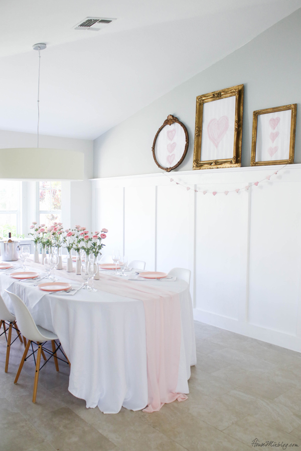 pink and white tablescape for valentine's day, baby shower or wedding - white dining room
