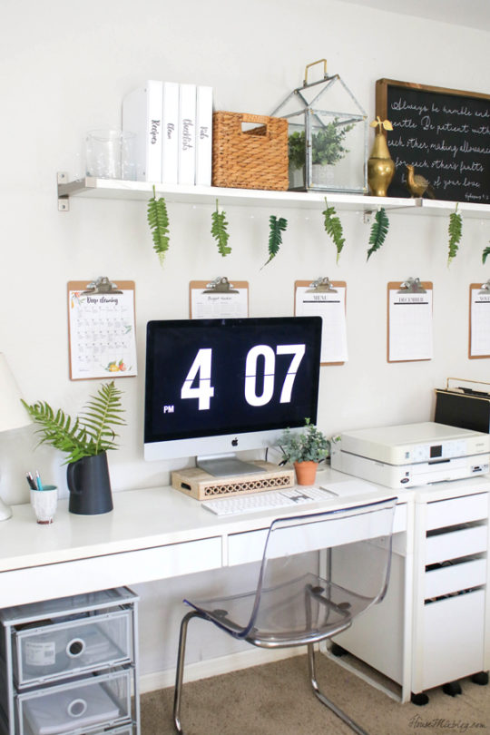 white ikea home office with plants - office organization