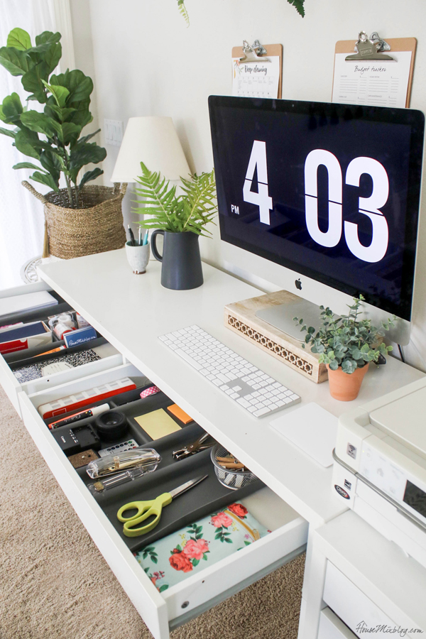 white ikea office in bedroom - how to organize your home office - office drawer organizers