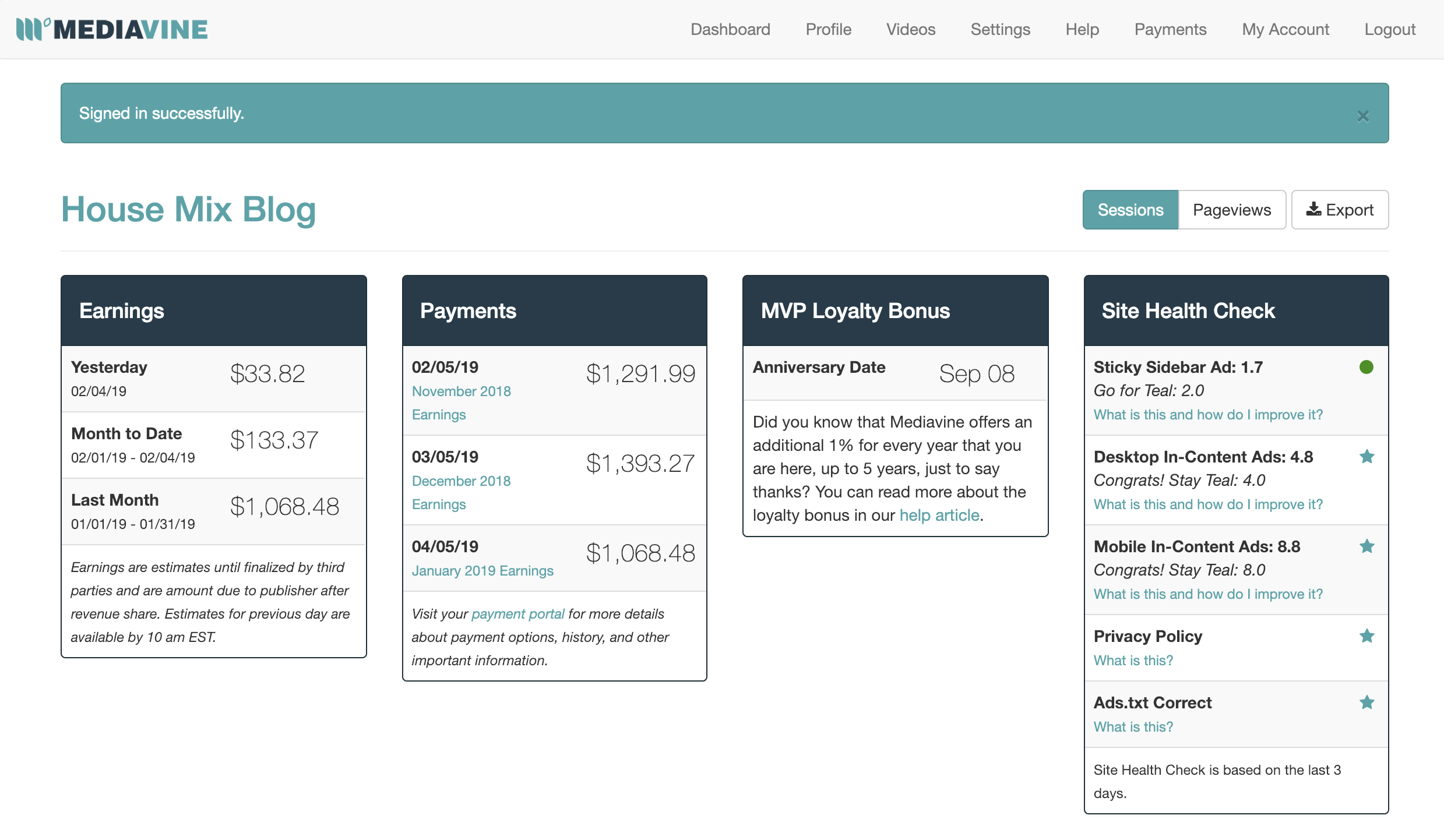 Mediavine dashboard - how make money blogging