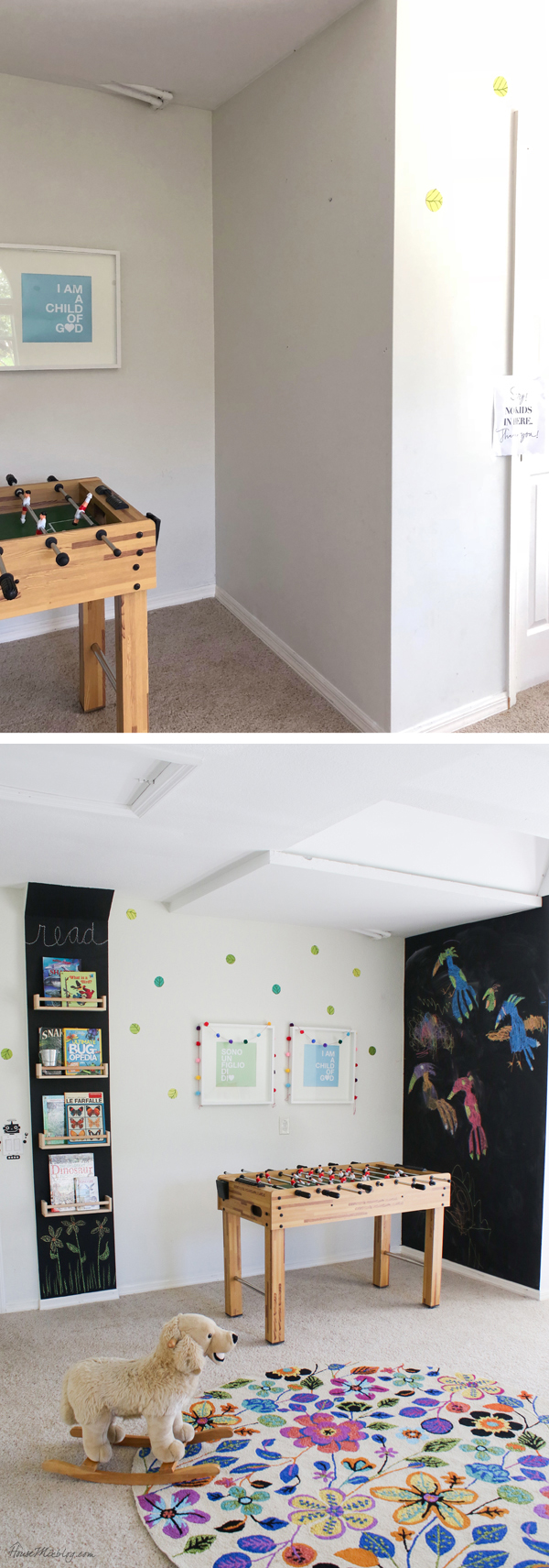 Chalkboard wall for 9 dollars in playroom