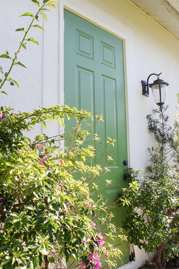 Courtyard green door - painted in 20 minutes for 7 dollars-green door in garden