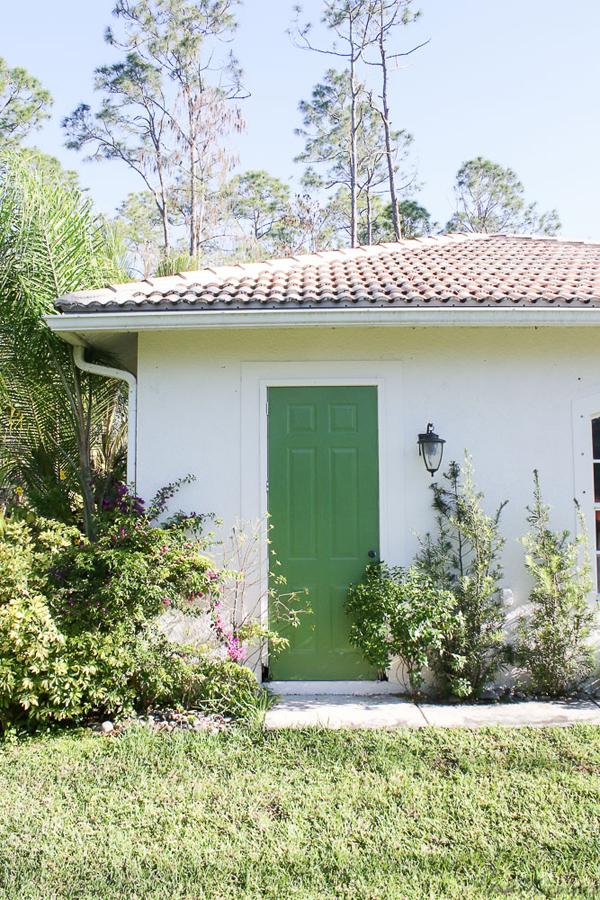 Courtyard green door - painted in 20 minutes for 7 dollars-green front doors