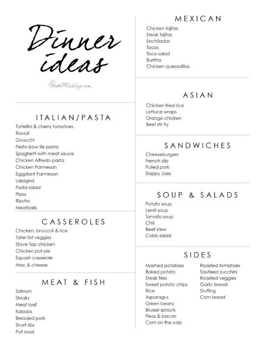 Dinner ideas - printable dinner idea list