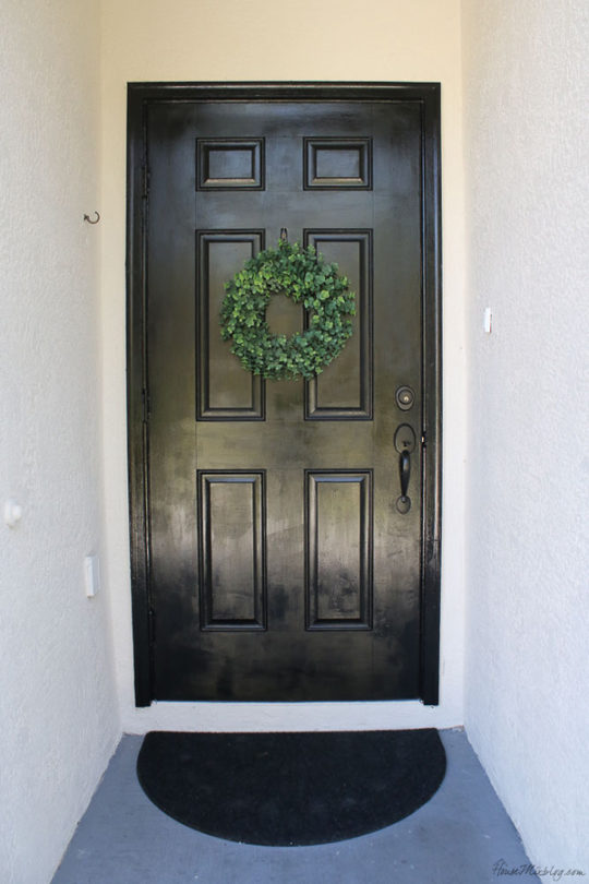 Front door painted black