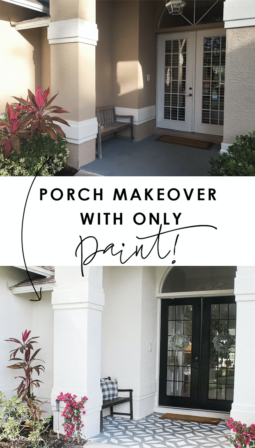 Front porch makeover with only paint - walls, floor stencil and French front door - before and after