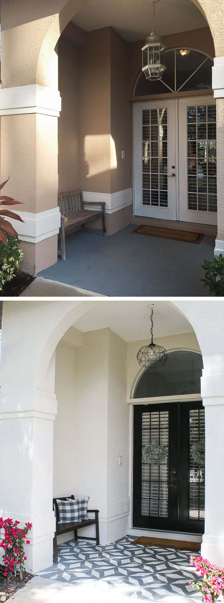 Front porch makeover with paint - before and after - painted french doors and walls and stenciled floor