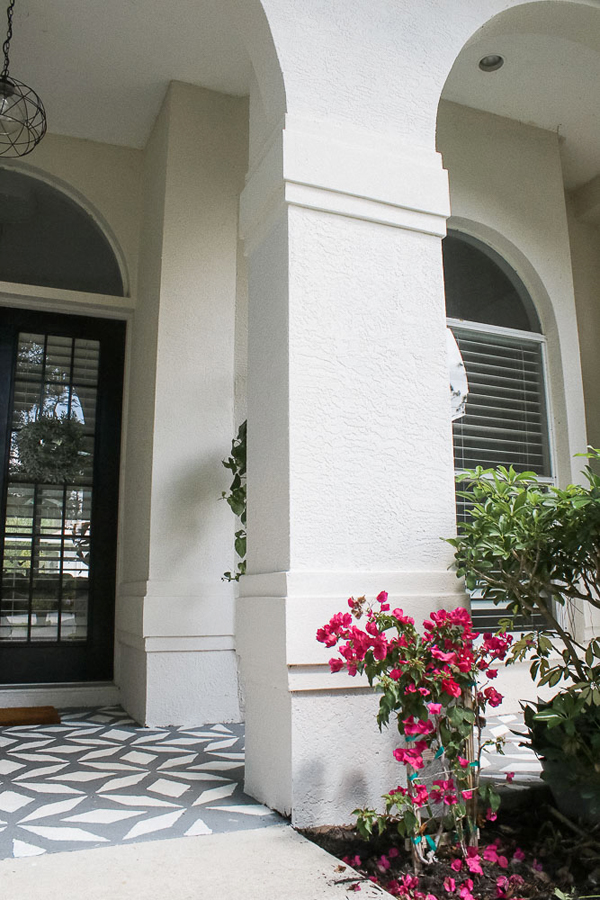 Front porch makeover with paint - growing bougainvillea on house