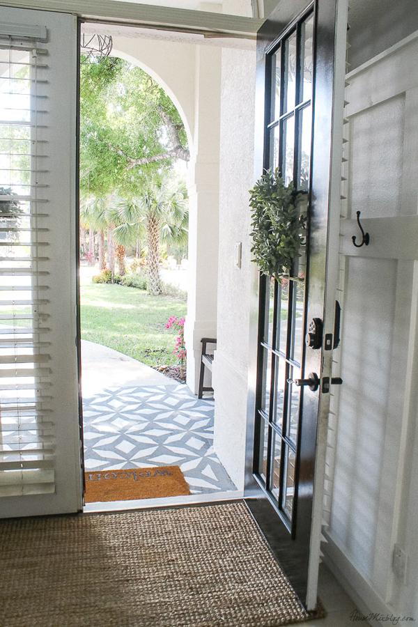 Front porch makeover with paint - painting the front French doors black