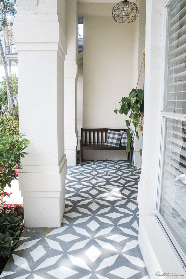 Front porch makeover with paint - stenciled floor with floor and porch paint