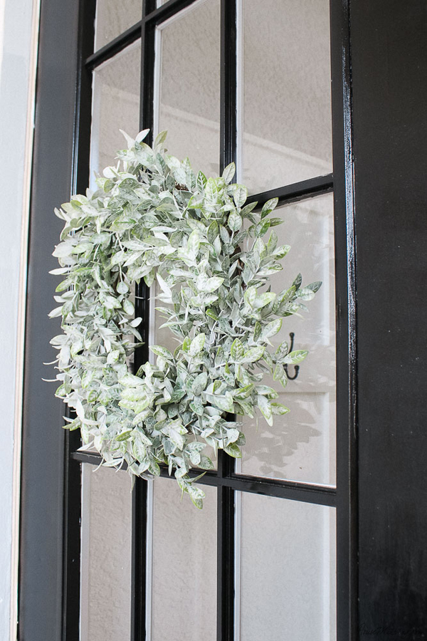 Front porch makeover with paint - wreaths with command hooks