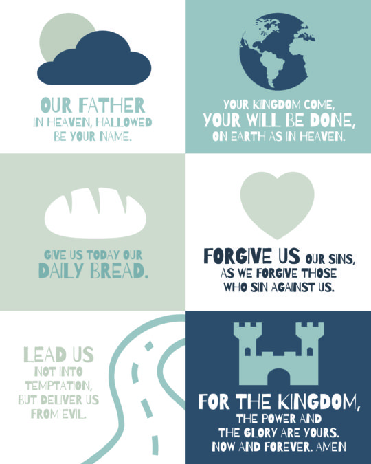 The Lords prayer for children poster - blue and gray - NKJV