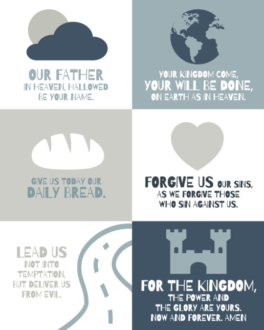 The Lords prayer for children poster - blue and gray color palette
