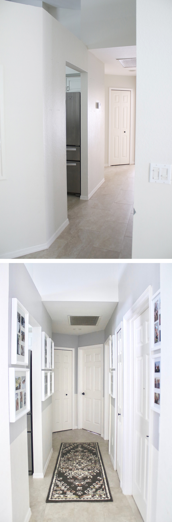 hallway with photo gallery before and after