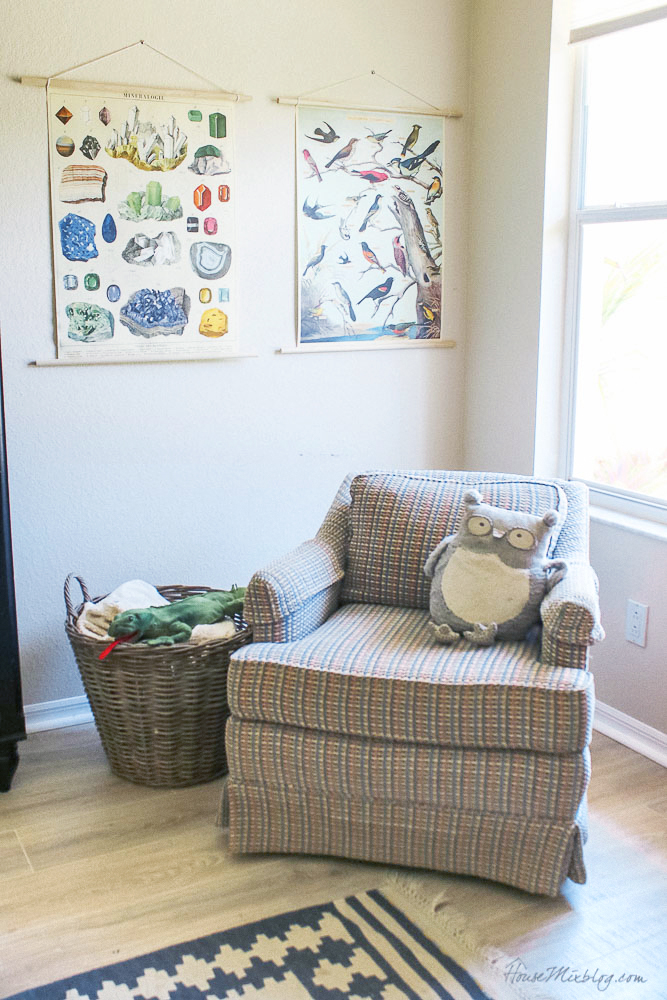 Boys room with armchair and vintage posters