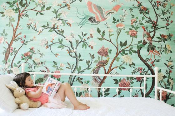 Framed green garden mural in girl's room