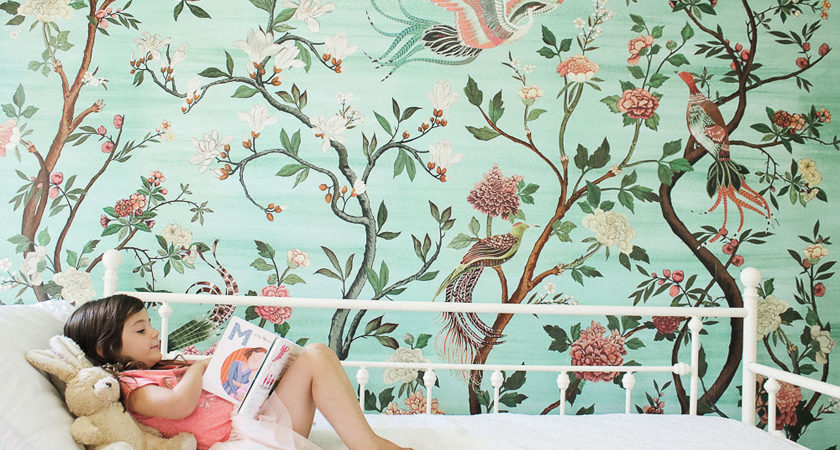 Green garden mural with flowers and birds in little girl's room-accent wall - havenview mural - anthropologie