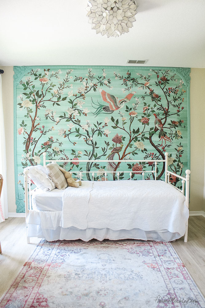 Green garden mural with flowers and birds in little girl's room- havenview - anthropologie mural - pink and green girls room - vintage looking iron daybed with trundle