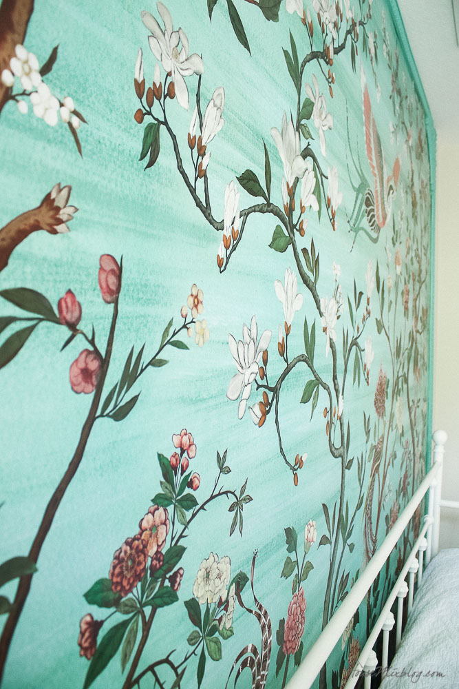 Green garden mural with flowers and birds in little girl's room-how to wallpaper by yourself