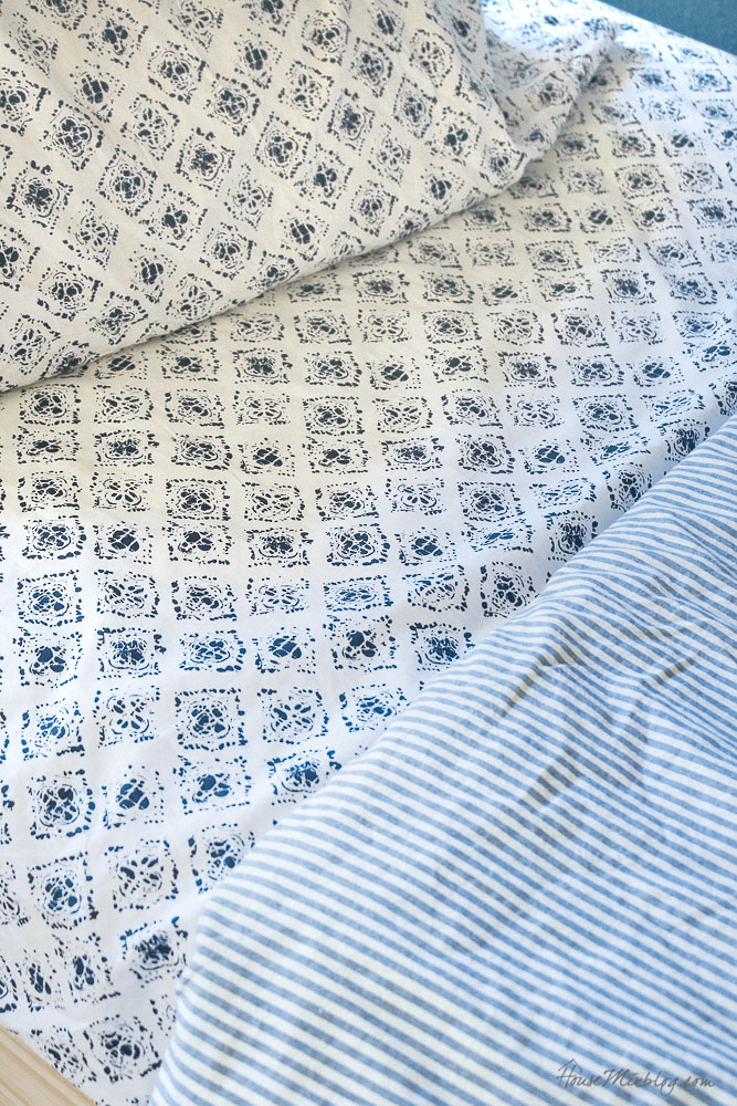 Ikea blue and white ticking stripe duvet