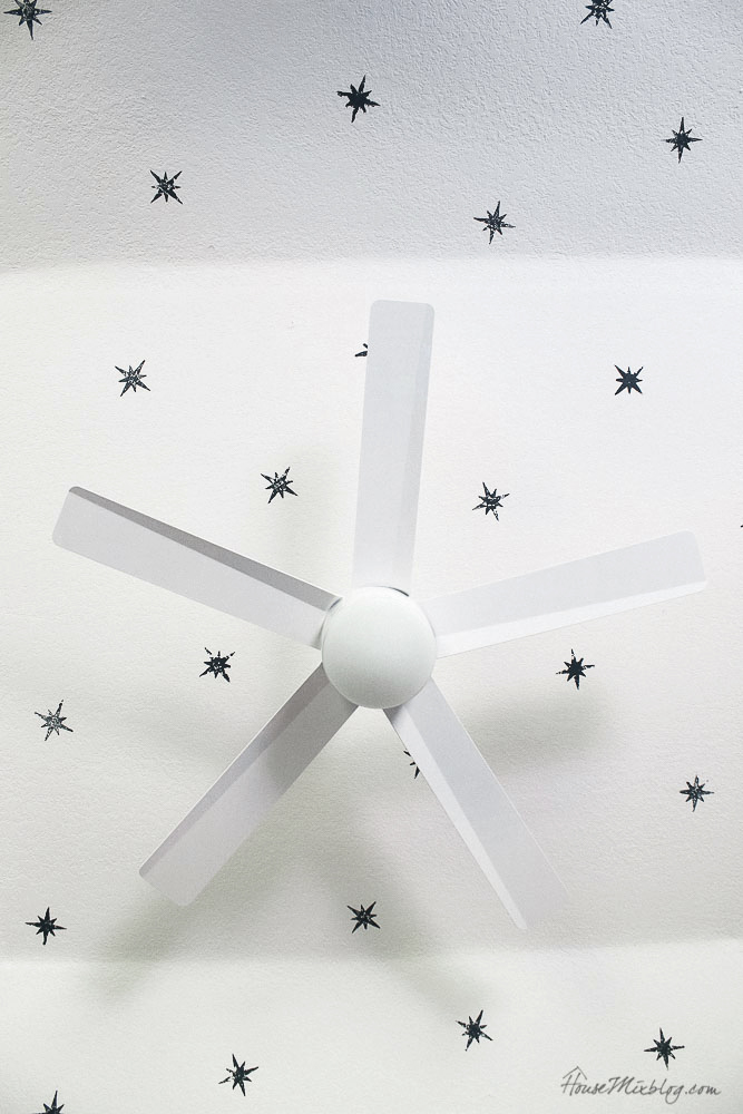 Star ceiling in boys room - star stamp - simple white fan with LED light